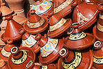 Morocco, Marrakech: tajine or tagine is a North African dish, which is named after the special pot in which it is cooked - on display in souk | Marokko, Marrakesch: Tajine oder Tagine, Kasserolle - aus gebranntem Lehm bestehendes Schmorgefaess..