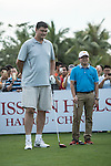 Yao Ming at the 1st hole during the World Celebrity Pro-Am 2016 Mission Hills China Golf Tournament on 21 October 2016, in Haikou, China. Photo by Weixiang Lim / Power Sport Images