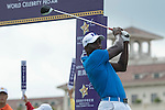 Dwight Yorke tees off the 1st hole at the World Celebrity Pro-Am 2016 Mission Hills China Golf Tournament on 21 October 2016, in Haikou, China. Photo by Weixiang Lim / Power Sport Images