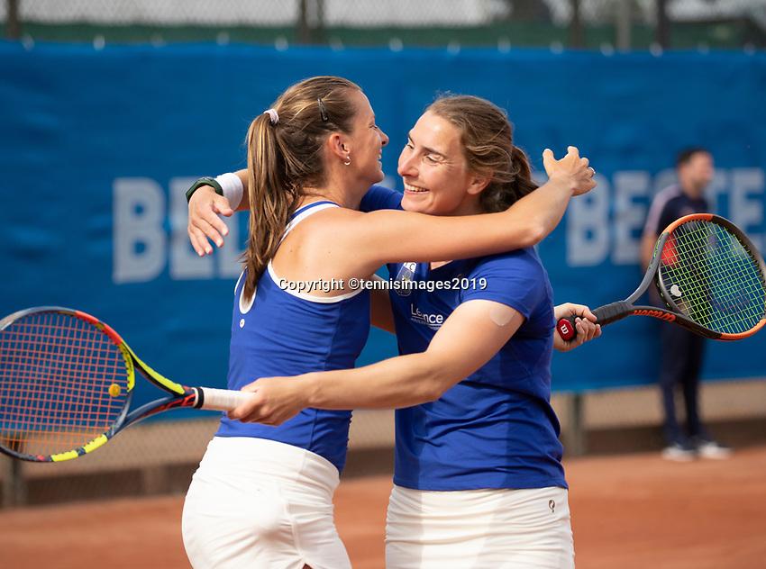 Zandvoort, Netherlands, 9 June, 2019, Tennis, Play-Offs Competition, Danielle Harmsen and Quirine Lemoine (L) celebrate their win<br /> Photo: Henk Koster/tennisimages.com