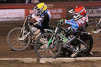 Heat 12: Lewis Bridger (red) and Richie Worrall - Vortex Lakeside Hammers vs Kings Lynn Stars - Sky Sports Elite League Speedway at Arena Essex Raceway, Purfleet - 23/04/13 - MANDATORY CREDIT: Gavin Ellis/TGSPHOTO - Self billing applies where appropriate - 0845 094 6026 - contact@tgsphoto.co.uk - NO UNPAID USE.
