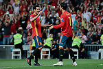 Spain national team playes Daniel Parejo (L) and Alvaro Morata (R) celebrate goal during UEFA EURO 2020 Qualifier match between Spain and Sweden at Santiago Bernabeu Stadium in Madrid, Spain. June 10, 2019. (ALTERPHOTOS/A. Perez Meca)