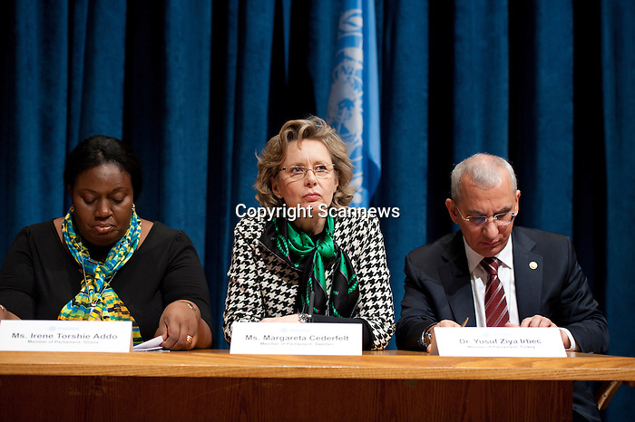 Press Conference sponsored by the Permanent Mission of Finland to the United Nations, entitled ?Parliamentarians Demand a Strong Arms Trade Treaty?. .Speakers: Ambassador Riitta Resch of Finland; Deputy Lamine Thiam, Senegal; Dr. Yusuf Ziya Irbec, Member of Parliament, Turkey; Ms. Margareta Cederfelt, Member of Parliament, Sweden; Mr. Mark Pritchard, Member of Parliament, United Kingdom; Ms. Irene Addo Torshie, Member of Parliament, Ghana; Senator Lyndira Oudit, Trinidad and Tobago...
