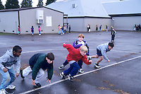 Students racing on playground. Oregon