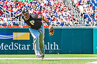 25 July 2013: Pittsburgh Pirates infielder Pedro Alvarez in action against the Washington Nationals at Nationals Park in Washington, DC. The Nationals salvaged the last game of their series, winning 9-7 ending their 6-game losing streak. Mandatory Credit: Ed Wolfstein Photo *** RAW (NEF) Image File Available ***