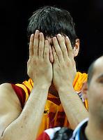 MacedonianPredrag Samardziski reacts during  basketball game for third place between Macedonia (FYROM) and Russia in Kaunas, Lithuania, Eurobasket 2011, Friday, September 16, 2011. (photo: Pedja Milosavljevic)
