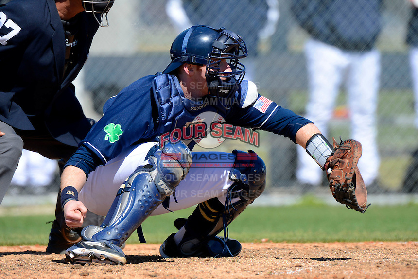 Notre Dame Fighting Irish catcher Forrest Johnson #30 during a game against the Mercer Bears at the Buck O'Neil Complex on February 17, 2013 in Sarasota, Florida.  Mercer defeated Notre Dame 5-4.  (Mike Janes/Four Seam Images)
