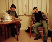 20 year old Brzo (right) from Iraqi Kurdistan stays with other refused asylum seekers at a squat in Leeds. They live on food handouts from a local charity and, unable to work, feel marginalised and frustrated. Brzo is one of an estimated 300,000 rejected asylum seekers living in the UK.