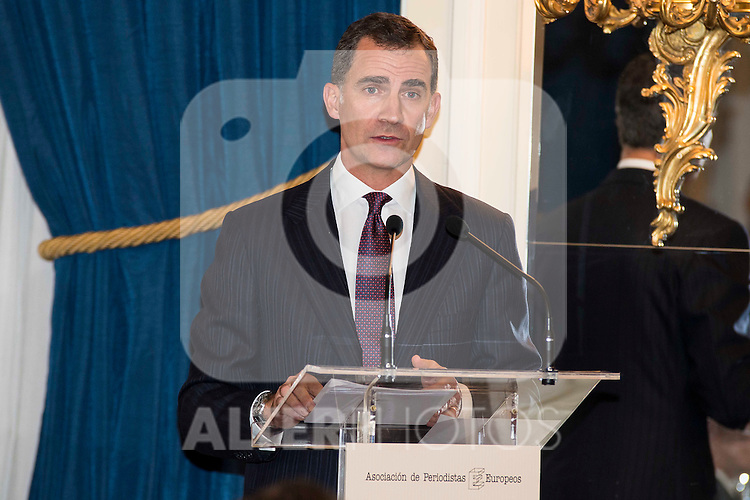 """King Felipe VI of Spain attend the delivery of the XXXII edition of the journalism award """" Francisco Cerecedo """" D. Felix Arzua at Ritz Hotel in Madrid, November 25, 2015<br /> (ALTERPHOTOS/BorjaB.Hojas)"""