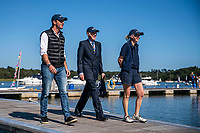 BNPS.co.uk (01202 558833)<br /> Pic: MaxWillcock/BNPS<br /> <br /> Pictured: Sir Ben Ainslie, The Right Honourable The Lord Montagu of Beaulieu and The Honourable Mary Montagu-Scott arrive.<br /> <br /> Britain's most decorated Olympic sailor Sir Ben Ainslie is the guest of honour at a celebration for the 50th anniversary and completion of the £2m redevelopment of Buckler's Hard Yacht Harbour in Beaulieu, Hampshire.