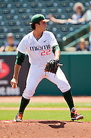 Miami Hurricanes starting pitcher Javi Salas #22 in action against the Georgia Tech Yellow Jackets at the 2012 ACC Baseball Championship at NewBridge Bank Park on May 27, 2012 in Winston-Salem, North Carolina.  The Yellow Jackets defeated the Hurricanes 8-5.  (Brian Westerholt/Four Seam Images)