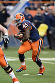Syracuse Orange running back Jerome Smith (45) runs the ball during a game against the Boston College Eagles at the Carrier Dome on November 30, 2013 in Syracuse, New York.  Syracuse defeated Boston College 34-31.  (Copyright Mike Janes Photography)