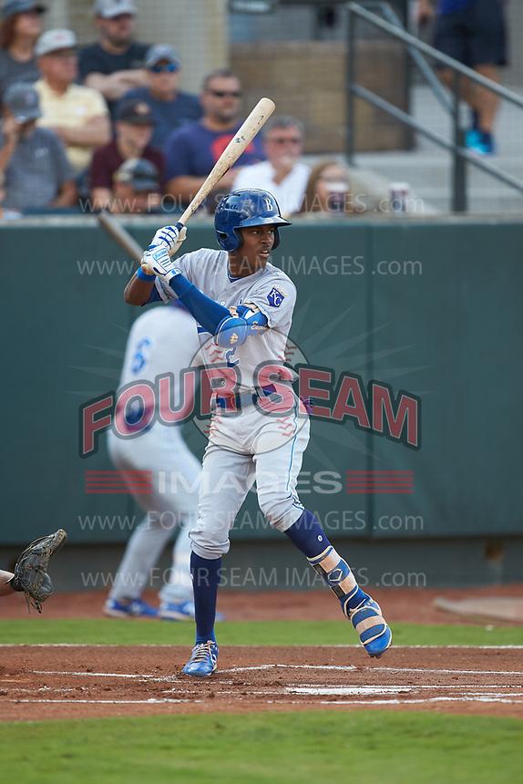 Maikel Garcia (2) of the Burlington Royals at bat against the Pulaski Yankees at Calfee Park on September 1, 2019 in Pulaski, Virginia. The Royals defeated the Yankees 5-4 in 17 innings. (Brian Westerholt/Four Seam Images)