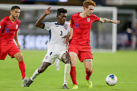 WASHINGTON, D.C. - OCTOBER 11: Josh Sargent #19 of the United States beats Erick Rizo #3 of Cuba to the ball during a Nations League match between the USA and Cuba at Audi Field, on October 11, 2019 in Washington D.C.