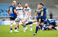 29th August 2020; AJ Bell Stadium, Salford, Lancashire, England; English Premiership Rugby, Sale Sharks versus Bristol Bears;  Sam James of Sale Sharks  kicks the ball up field