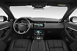 Stock photo of straight dashboard view of 2021 Land Rover Range-Rover-Evoque R-Dynamic 5 Door SUV Dashboard