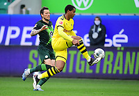 23rd May 2020, Volkswagen Arena, Wolfsburg, Lower Saxony, Germany; Bundesliga football,VfL Wolfsburg versus Borussia Dortmund; Daniel Ginczek is held off by the control by Manuel Akanji (Dortmund)