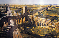 Rome: Aquaducts, 1st C. AD. The channels to left, three at right. 1914 painting by M.Z. Diemer. Ref. only.