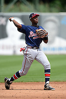 Shortstop Montrell Marshall (22) of South Gwinnett High School in Snellville, Georgia playing for the Atlanta Braves scout team during the East Coast Pro Showcase on July 31, 2013 at NBT Bank Stadium in Syracuse, New York.  (Mike Janes/Four Seam Images)