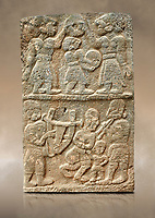Pictures & images of the North Gate Hittite sculpture stele depicting musicians playing instruments. 8the century BC.  Karatepe Aslantas Open-Air Museum (Karatepe-Aslantaş Açık Hava Müzesi), Osmaniye Province, Turkey. Against art background