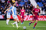 Dimitrios Siovas of CD Leganes and Jose Luis Sanmartin 'Joselu' of Deportivo Alaves during La Liga match between CD Leganes and Deportivo Alaves at Butarque Stadium in Leganes, Spain. February 29, 2020. (ALTERPHOTOS/A. Perez Meca)