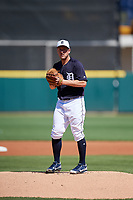 Detroit Tigers starting pitcher Jordan Zimmermann (27) gets ready to deliver a pitch during a Grapefruit League Spring Training game against the Atlanta Braves on March 2, 2019 at Publix Field at Joker Marchant Stadium in Lakeland, Florida.  Tigers defeated the Braves 7-4.  (Mike Janes/Four Seam Images)