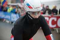 a hardly recognisable Luca Paolini (ITA/Katusha) seems ready to cofront the Irish elements (with 'waterproof' taped helmet)<br /> <br /> Giro d'Italia 2014<br /> stage 2: Belfast-Belfast <br /> 219km