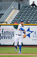 Gabriel Noriega (4) of the Omaha Storm Chasers during the game against the Memphis Redbirds in Pacific Coast League action at Werner Park on April 24, 2015 in Papillion, Nebraska.  (Stephen Smith/Four Seam Images)
