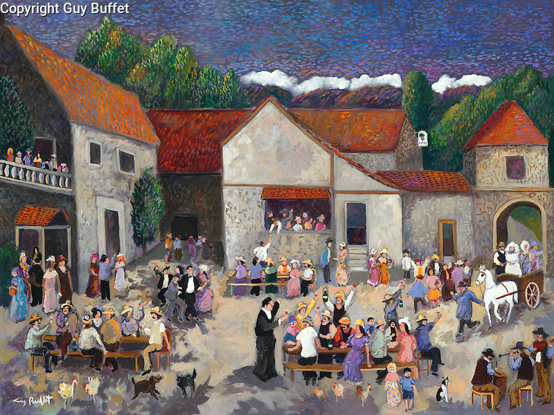 """""""Wedding at the Vintner's Inn""""<br /> Limited Edition Giclee 20"""" x 26.5"""" <br /> <br /> SN Canvas $850.<br /> AP Paper w/Original Watercolor Remarque $1,975.<br /> <br /> Depicting the Cotes du Rhone wine-making region of France, the entire village attends the courtyard wedding of the Vintner's son, who is already drunk and dancing as he awaits his bride to be!"""