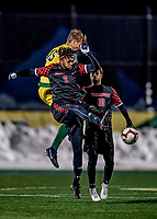 13 November 2019: University of Hartford Hawk Midfielder Gael Kisombe, a Senior from Uccle, Belgium, in action against the University of Vermont Catamounts at Virtue Field in Burlington, Vermont. The Hawks defeated the Catamounts 3-2 in sudden death overtime of the Division 1 Men's Soccer America East matchup. Mandatory Credit: Ed Wolfstein Photo *** RAW (NEF) Image File Available ***