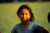 Amazon, Brazil. Girl with black hair and amerindian features.