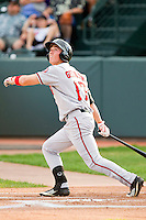 Jeff Gelalich (17) of the Billings Mustangs follows through on his swing against the Grand Junction Rockies at Suplizio Field on July 24, 2012 in Grand Junction, Colorado.  The Rockies defeated the Mustangs 4-3.  (Brian Westerholt/Four Seam Images)