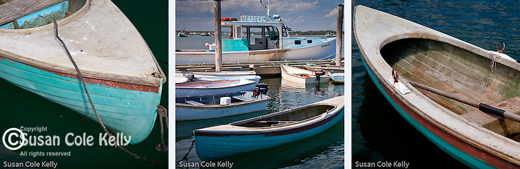 Three images of blue boats in the fishing village of Jonesport, Downeast, ME, USA. Order singly or as a group, email for group price.
