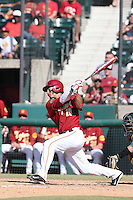 A.J. Ramirez (10) of the Southern California Trojans bats during a game against the Oregon Ducks at Dedeaux Field on April 18, 2015 in Los Angeles, California. Oregon defeated Southern California, 15-4. (Larry Goren/Four Seam Images)