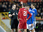 Aberdeen v St Johnstone…08.12.18…   Pittodrie    SPFL<br />Referee Don Robertson has words with Dom Ball and Ross Callachan<br />Picture by Graeme Hart. <br />Copyright Perthshire Picture Agency<br />Tel: 01738 623350  Mobile: 07990 594431