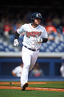 Nashville Sounds third baseman Renato Nunez (34) runs to first during a game against the Iowa Cubs on May 4, 2016 at First Tennessee Park in Nashville, Tennessee.  Iowa defeated Nashville 8-4.  (Mike Janes/Four Seam Images)