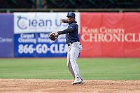 Cedar Rapids Kernels shortstop Yeltsin Encarnacion (43) during a Midwest League game against the Kane County Cougars at Northwestern Medicine Field on April 28, 2019 in Geneva, Illinois. Kane County defeated Cedar Rapids 3-2 in game one of a doubleheader. (Zachary Lucy/Four Seam Images)