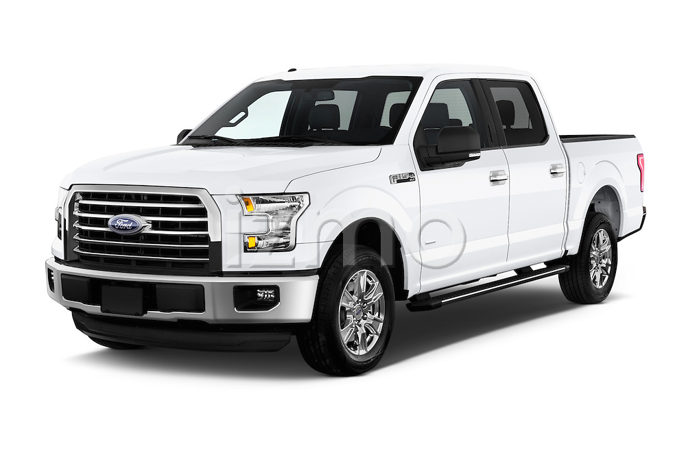 2015 Ford F-150 XLT SuperCrew 145-in Door Pickup Angular Front stock photos of front three quarter view