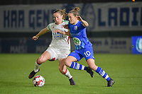 OHL's Lenie Onzia (L) with Gent's Chloe Vande Velde (R)  pictured during a female soccer game between  AA Gent Ladies and Oud Heverlee Leuven on the 9th matchday of the 2020 - 2021 season of Belgian Scooore Womens Super League , friday 11 th of December 2020  in Oostakker , Belgium . PHOTO SPORTPIX.BE | SPP | DIRK VUYLSTEKE