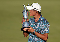 18th July 2021; Royal St Georges Golf Club, Sandwich, Kent, England; The Open Championship Golf, Day Four; Collin Morikawa (USA) poses with the Claret Jug on the 18th green