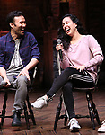 """during the Q & A before The Rockefeller Foundation and The Gilder Lehrman Institute of American History sponsored High School student #EduHam matinee performance of """"Hamilton"""" at the Richard Rodgers Theatre on 4/03/2019 in New York City."""