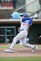 Austin Beck (12) of the Stockton Ports bats against the Inland Empire 66ers at San Manuel Stadium on May 26, 2019 in San Bernardino, California. (Larry Goren/Four Seam Images)