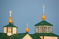Russian Orthodox Church, built in 1901, is a historic landmark in the coastal town of Ninilchik on the Kenai Peninsula, southcentral, Alaska.