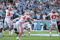 CHAPEL HILL, NC - SEPTEMBER 28: Sam Howell #7 of the University of North Carolina throws a pass during a game between Clemson University and University of North Carolina at Kenan Memorial Stadium on September 28, 2019 in Chapel Hill, North Carolina.