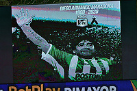 MEDELLIN- COLOMBIA, 28-11-2020:Homenaje a Maradona.Atlético Nacional  Y América de Cali  en partido por los cuartos de final vuelta como parte de la Liga BetPlay DIMAYOR 2020 jugado en el estadio Atanasio Girardot de la ciudad de Medellín. /tribute to Maradona. Atletico Nacional and America de Cali  in match for the quarterfinal second leg as part of BetPlay DIMAYOR League 2020 played at Atanasio Girardot stadium in Medellin. Photo: VizzorImage / Luis Benavides / Contribuidor