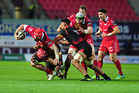 Blade Thomson of Scarlets is tackled by Andisa Ntsila of Southern Kings during the Guinness Pro14 Round 5 match between Scarlets and Isuzu Southern Kings at the Parc Y Scarlets in Llanelli, Wales, UK. Saturday 29 September 2018