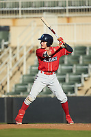 Simon Muzziotti (12) of the Lakewood BlueClaws at bat against the Kannapolis Intimidators at Kannapolis Intimidators Stadium on July 8, 2018 in Kannapolis, North Carolina.  The BlueClaws defeated the Intimidators 4-3.  (Brian Westerholt/Four Seam Images)