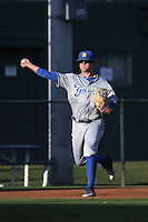 Ryan Clark (13) of the UC Santa Barbara Gauchos makes a throw during a game against the Cal State Long Beach Dirtbags at Blair Field on April 1, 2016 in Long Beach, California. UC Santa Barbara defeated Cal State Long Beach, 4-3. (Larry Goren/Four Seam Images)