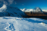 Creise, Sron na Creise and Buachaille Etive Mor from the Munro of Meall a' Bhuiridh, Highland
