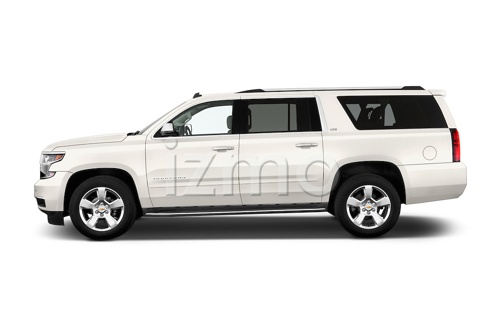 Car Driver side profile view of a 2015 Chevrolet Suburban 4WD 1500 LTZ 5 Door Suv Side View